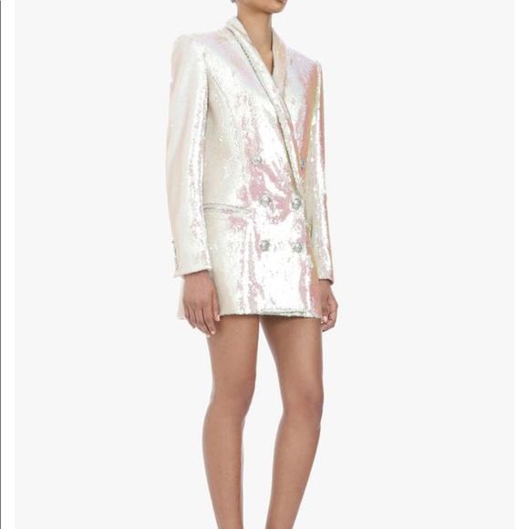 38abb9fbc5f White & Iridescent Sequin Blazer Dress